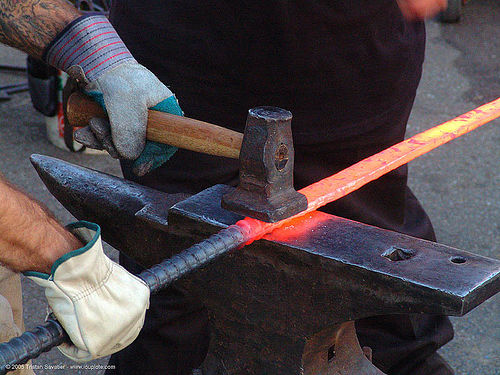 blacksmith anvil, anvil, blacksmith, flatter, forging, glowing, hammer, hands, ironwork, leather gloves, metal working, metalwork, red hot, sword, tool
