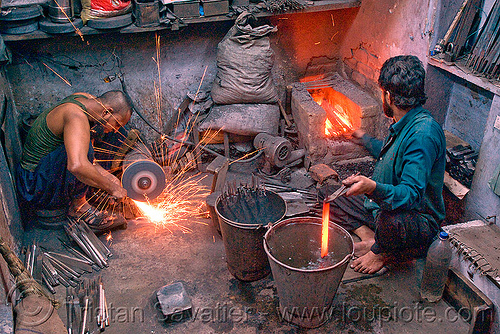 blacksmith workshop, blacksmith, delhi, furnace, grinding, ironwork, men, metalwork, metalworking, quench, red hot, sparks, workers, workshop