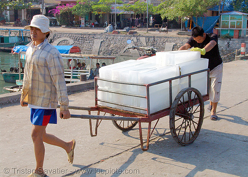 block ice on cart, block ice, blocks, cart, cold, delivery, men