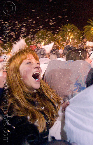 blond girl screaming - the great san francisco pillow fight 2009, down feathers, night, pillow fight club, pillows, woman, world pillow fight day