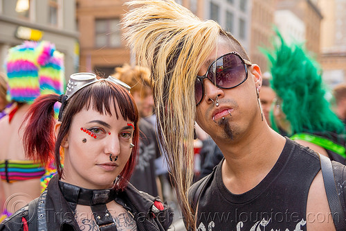 blond mohawk - darik - how weird street faire (san francisco), blond, darik, dereck, derrick demolition, lip piercing, man, nose piercing, punk, septum piercing, snake bite piercing, woman