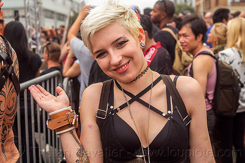 blond woman with short hair, blonde, folsom street fair, short hair, simone, woman