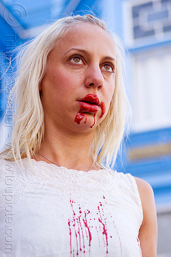 bloody zombie, bleeding, blonde, bloody, fake blood, halloween, lusha, makeup, red, special effects, stage blood, theatrical blood, woman, zombie