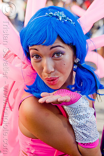 blowing a kiss - woman with blue wig, asian woman, blowing kiss, blue wig, gay pride festival, janet, pink