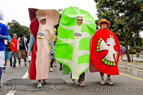 BLT - bacon lettuce tomato costumes, bay to breakers, festival, footrace, people, runners, street party