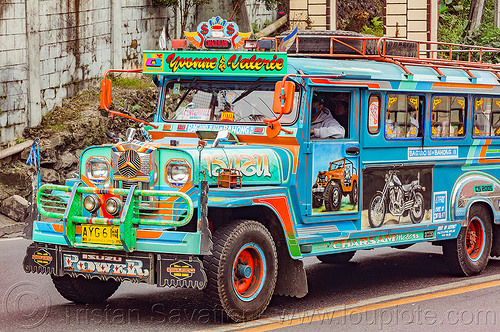 blue and green jeepney (philippines), baguio, colorful, decorated, front grill, jeepney, painted, philippines, road, truck