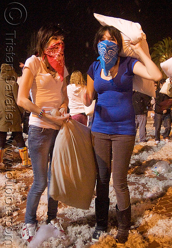 blue and red bandana girls - the great san francisco pillow fight 2009 - olivia, bandana, down feathers, face mask, night, olivia, pillows, women, world pillow fight day