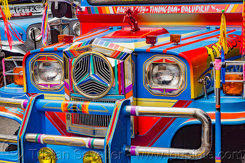 blue and red jeepney - front grill (philippines), baguio, colorful, decorated, front grill, jeepney, painted, philippines, truck