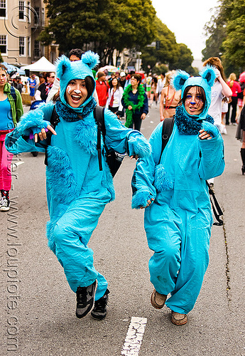 blue bears costumes - women, animal costumes, bay to breakers, blue, dancing, deena, footrace, furry, fuzzy, jumpsuits, street party, women