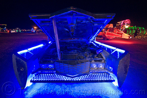 blue car - cadillac, art car, blue, burning man, cadillac, engine, hood, night