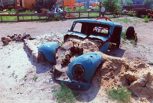 blue car - wreck, blue car, car wreck, rusty