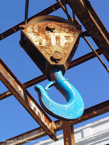 crane hook, abandoned, blue, crane hook, decay, pulley, trespassing, urban exploration
