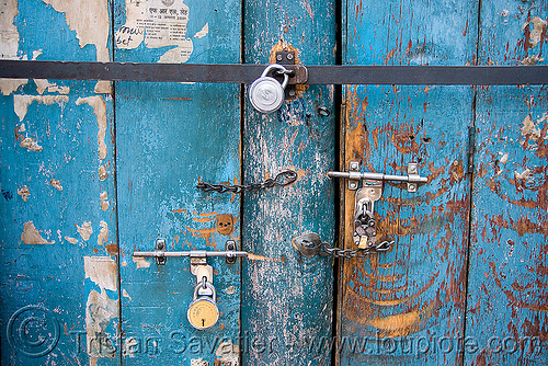 blue door with padlocks (india), barred door, blue door, closed, india, ladakh, leh, locked door, locks, padlocks, लेह