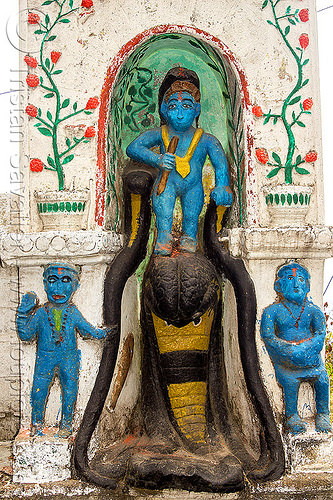blue hindu deities and naga snake at hindu shrine (india), blue, cobra, hindu temple, hinduism, nāga snake, sculpture, shrine, west bengal