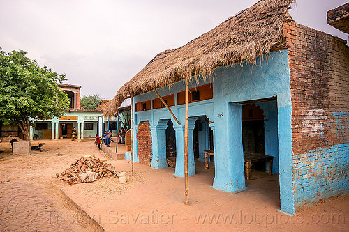 blue house in indian village, blue house, brick, india, khoaja phool, village, खोअजा फूल