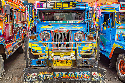blue jeepney at station(philippines), baguio, colorful, decorated, front grill, jeepney, painted, philippines, truck