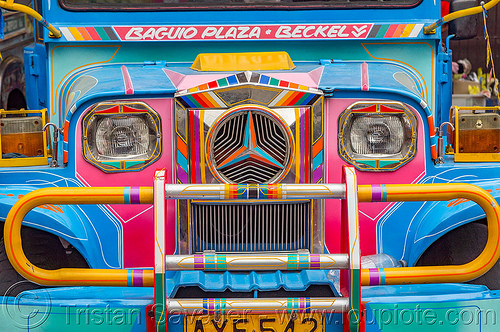 blue jeepney (philippines), baguio, colorful, decorated, front grill, jeepney, painted, philippines, truck