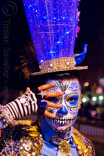 blue matador costume and carnival hat, blue hat, carnival hat, costume, day of the dead, dia de los muertos, face painting, facepaint, halloween, large hat, man, night, sugar skull makeup, suliman nawid