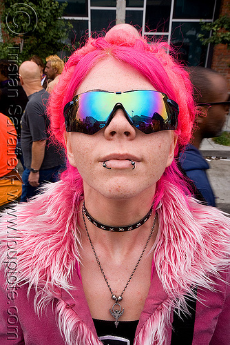 blue rayban sunglasses, dore alley fair, fur, fushia, pink, ray-ban, reflection, tasha, woman