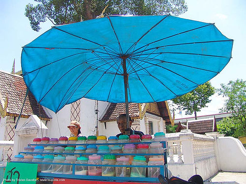 blue umbrella - ชา - thailand, chiang mai, flavored drinks, songkran, street seller, street vendor, thai new year, thailand, umbrella, ชา, สงกรานต์