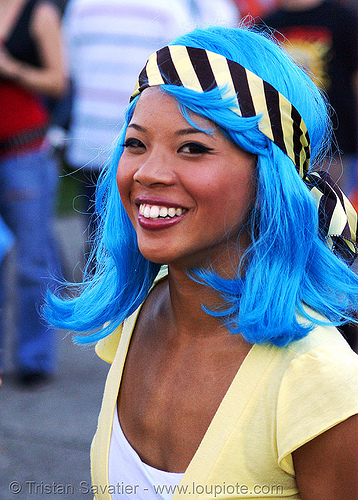 blue wig - girl with blue hair, asian woman, blue hair, blue wig, fashion, lovevolution, yellow