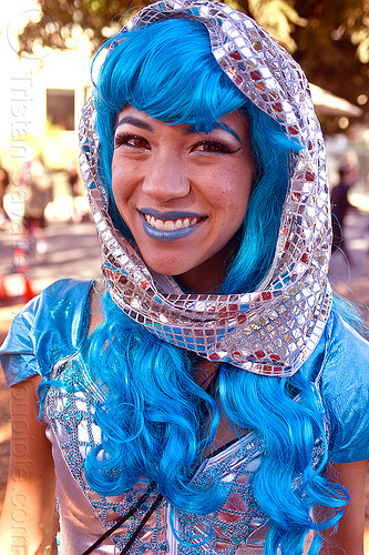 blue wig - blue lipstick, blue costume, blue lipstick, blue outfit, blue wig, burning man decompression, fashion, headdress, jessica, shiny, silver, woman