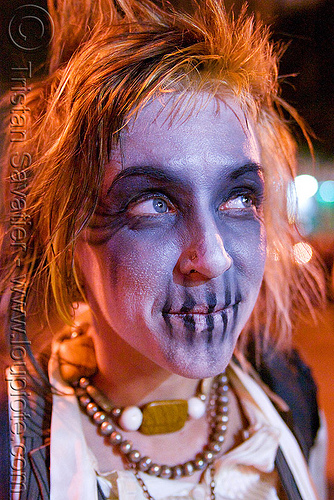 bluish skull makeup - dia de los muertos - halloween (san francisco), day of the dead, dia de los muertos, face painting, facepaint, halloween, makeup, night, woman