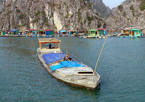 boat made of concrete - vietnam, cat ba island, concrete boat, cát bà, halong bay, islands, vietnam