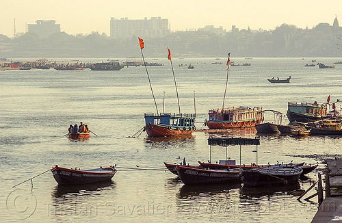 boats on ganga river in varanasi (india), ganga river, ganges river, river boats, varanasi, water