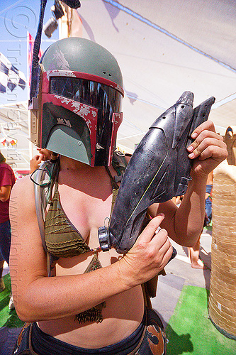 boba fett costume, boba fett, burning man, center camp, gun, helmet, science fiction, soldier, starwars, warrior, weapon, woman