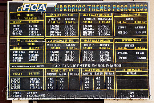 boliva train schedule - timetable - horarios trenes pasajeros, enfe, fca, railroad, railway, tarifas, tariff, time table, train station, trains, uyuni