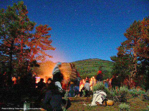 bonfire-under-stars - rainbow gathering - hippie, bonfire, hippie, night, stars, trees