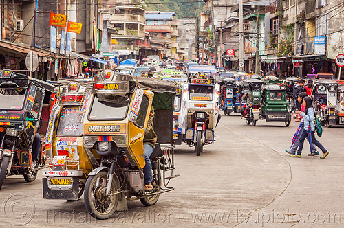 bontoc - motorized tricycle (philippines), bontoc, children, colorful, crossing street, kids, motorcycles, motorized tricycle, pedestrians, philippines, sidecar