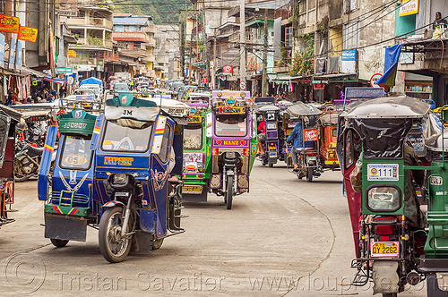 motorized tricycles - bontoc (philippines), bontoc, motorbikes, motorcycles, motorized tricycles, philippines, public transportation, sidecar, street