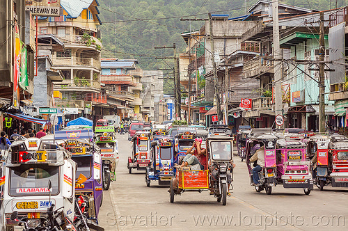 motorized tricycles - bontoc (philippines), bontoc, motorbikes, motorcycles, motorized tricycles, passenger, philippines, public transportation, sidecar, sitting, street