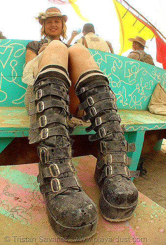boots with buckles - burning man 2007, boots, buckles, burning man, center camp, fashion, fisheye, straps, woman