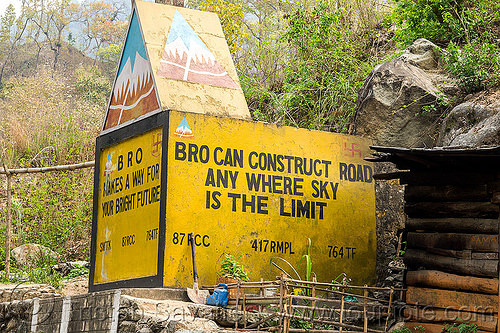 border roads organisation marker - sky is the limit (india), border roads organisation, bro road signs, india, road marker, road sign, swastik project, west bengal