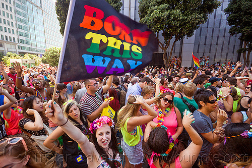 born this way - rainbow flag, crowd, dancing, gay pride, gay pride festival, party, people, street, street party