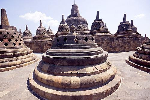 borobudur - buddha in stupa, archaeology, borobudur, buddha, buddhism, buddhist temple, java, jogja, jogjakarta, monument, stone, stupas, yogyakarta