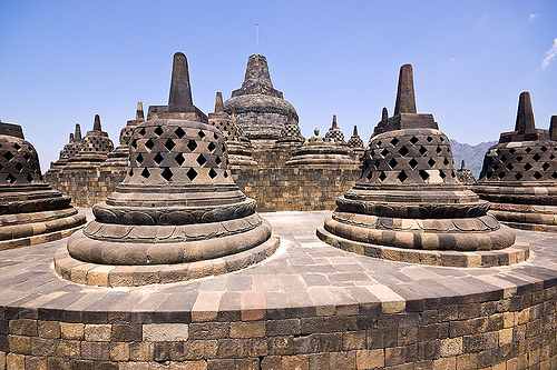 borobudur - stupas on top of temple (java), archaeology, borobudur, buddhism, buddhist temple, indonesia, jogja, monument, stupas, yogyakarta
