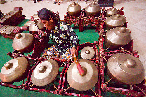 bossed gongs (java, indonesia), bossed gongs, gamelan ensemble, gong group, java, jogja, jogjakarta, karawitan, man, music, musical, nipple gongs, orchestra, percussion, player, sitting, yogyakarta