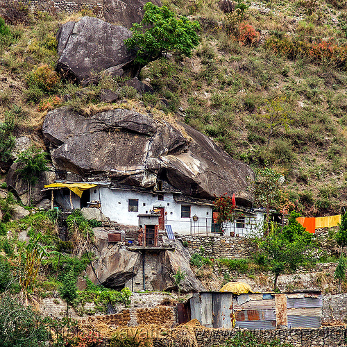 boulder house (india), alaknanda valley, architecture, boulder, grotto, house, india, mountains, rock