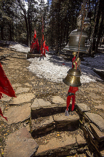 brass bells above hindu shrine steps in forest (india), bells, brass, forest, hinduism, india, mountains, red flags, shrine, snow
