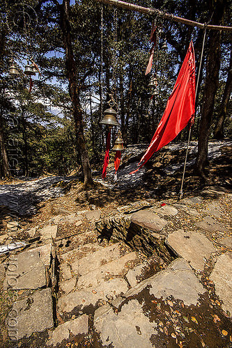 brass bells and red flags at hindu shrine in forest (india), bells, forest, hinduism, india, mountains, red flags, shrine, stairs, steps