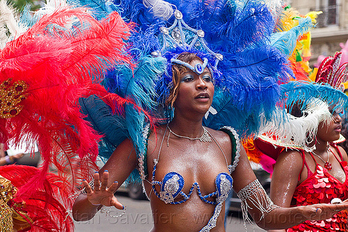 brazilian carnaval costume, blue, brazilian, carnaval tropical, costume, dancer, dancing, feather headdress, feathers, festival, parade, paris, people, red, woman