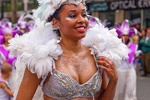 brazilian carnaval costume, brazilian, carnaval tropical, costume, parade, paris, white feathers, woman
