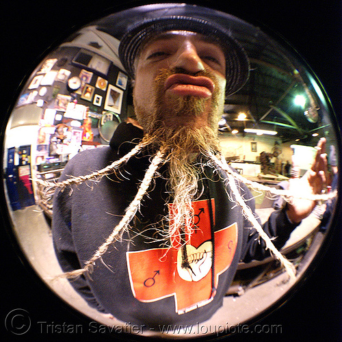 breaded beard - fisheye, braided, braided beard, circular fisheye lens, flaming lotus girls