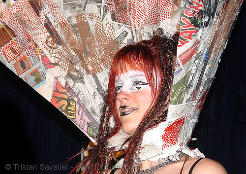breanna at the burning man pre-compression party (san francisco), bm pre-compression, breanna, burning man, costume, fashion show, makeup, red hair, redhead