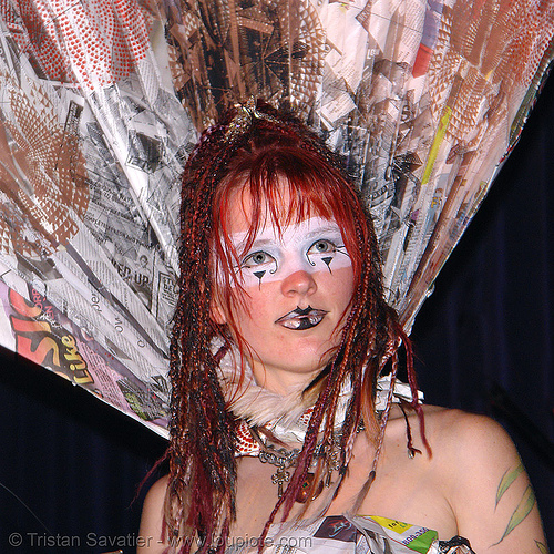 breanna at the burning man pre-compression party (san francisco), bm pre-compression, breanna, costume, fashion show, flambe, flambé lounge, makeup, red hair, redhead, woman
