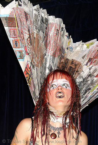 breanna at the burning man pre-compression party (san francisco), bm pre-compression, breanna, burning man, costume, fashion show, flambe, flambé lounge, makeup, red hair, redhead